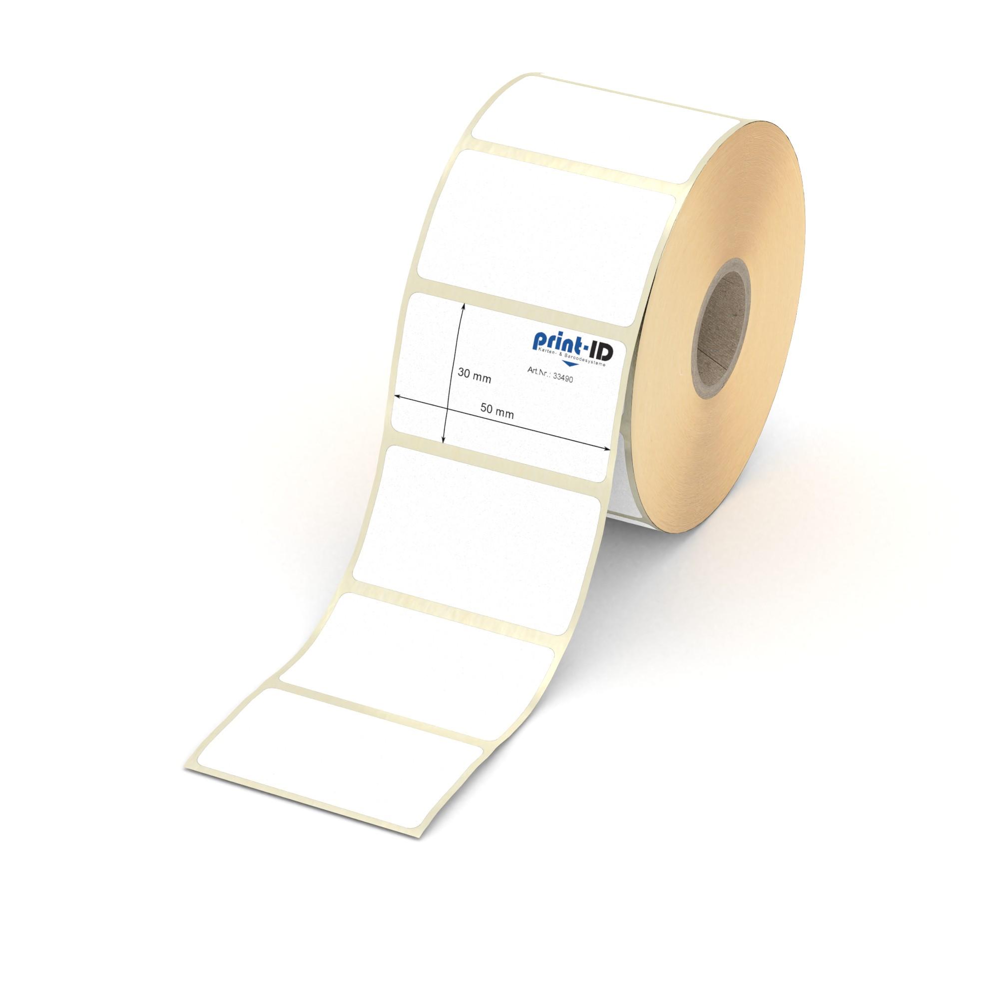 """3500 Thermotransfer Etiketten Rolle weiß 36 x 13 mm Papier 1/"""" permanent"""