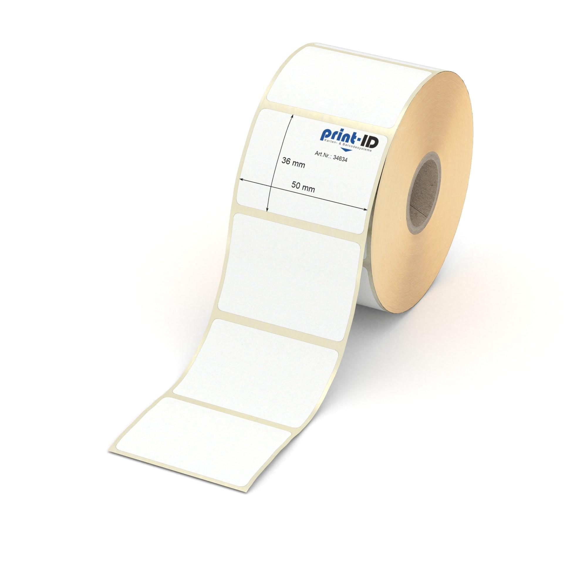 """Papier 1/"""" Rolle 50 x 80 mm permanent 1000 Thermotransfer Etiketten weiß"""