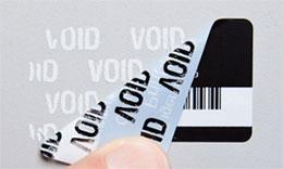 Inventaretikett mit weißer Folie und VOID Sicherheitskleber