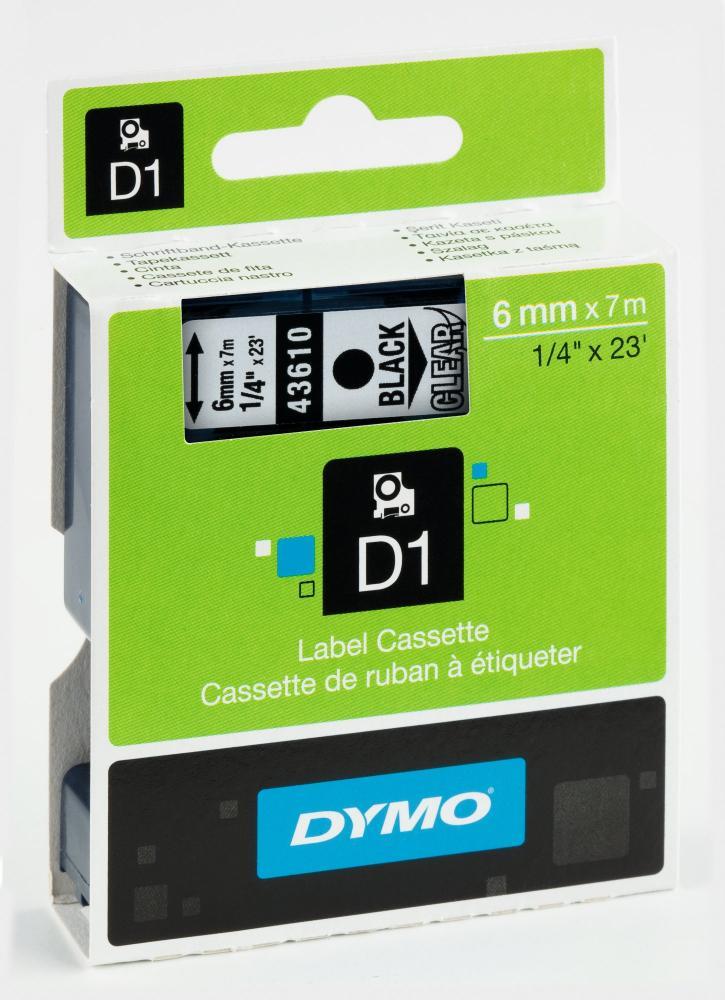 DYMO 43610 D1-Schriftband 6 mm schwarz auf transparent, S0720770