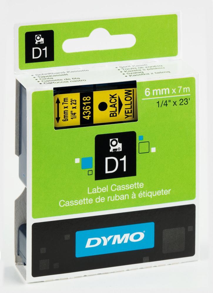 DYMO 43618 D1-Schriftband 6 mm schwarz auf gelb, S0720790