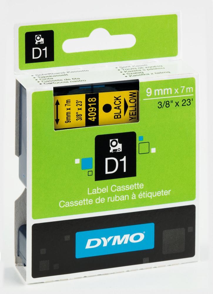 DYMO 40918 D1-Schriftband 9 mm schwarz auf gelb, S0720730