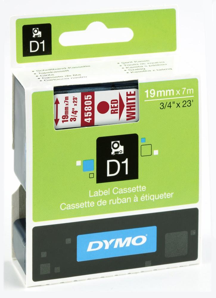 DYMO 45805 D1-Schriftband 19 mm rot auf weiß, S0720850