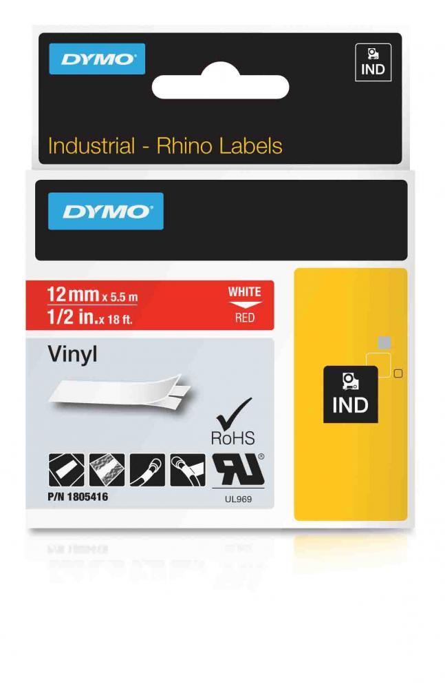 DYMO Rhino Vinylband 12 mm weiß auf rot IND 1805416