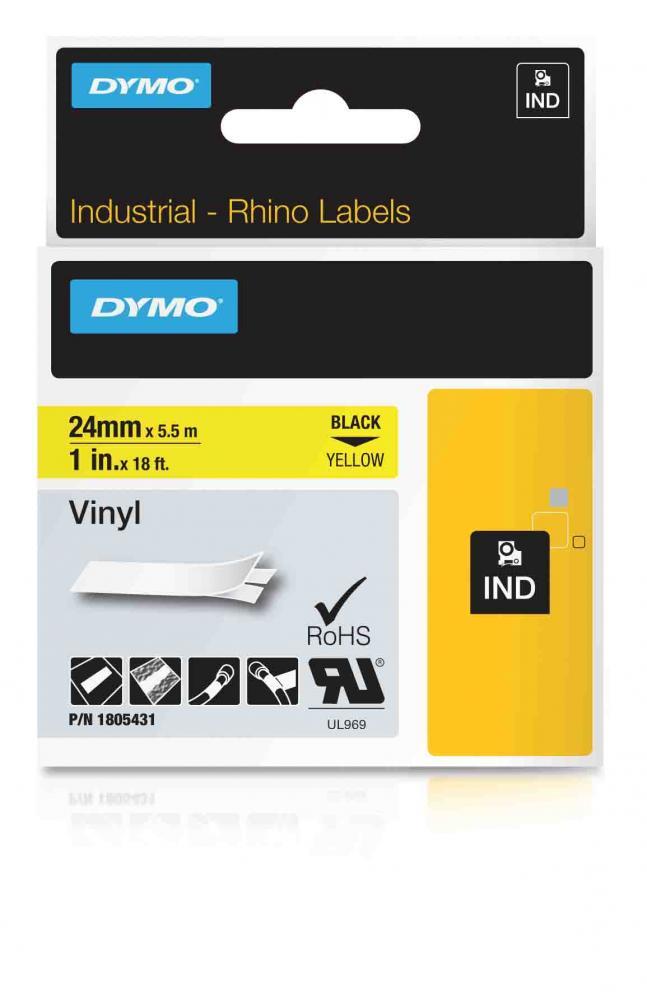 DYMO Rhino Vinylband 24 mm schwarz auf gelb IND 1805431