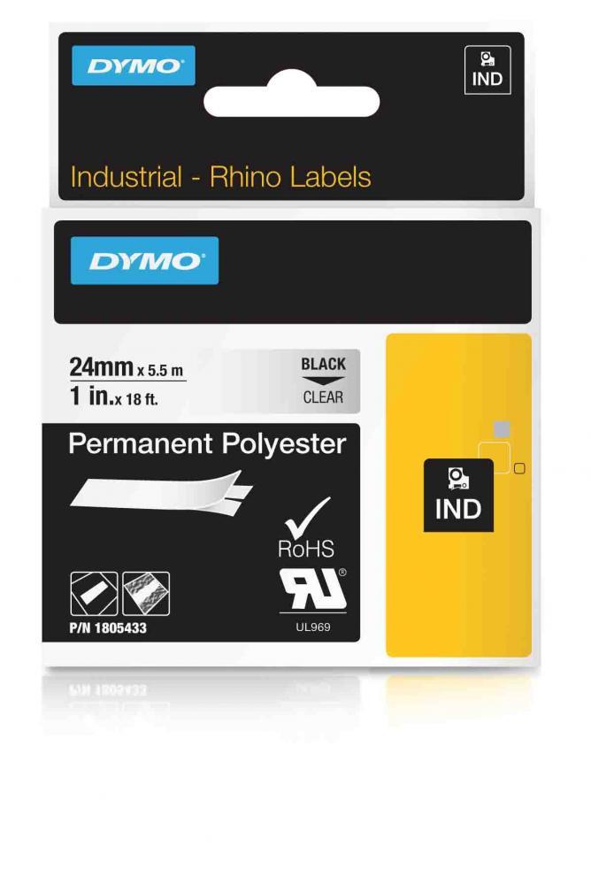 DYMO Rhino Polyester 24 mm schwarz auf transparent IND 1805433