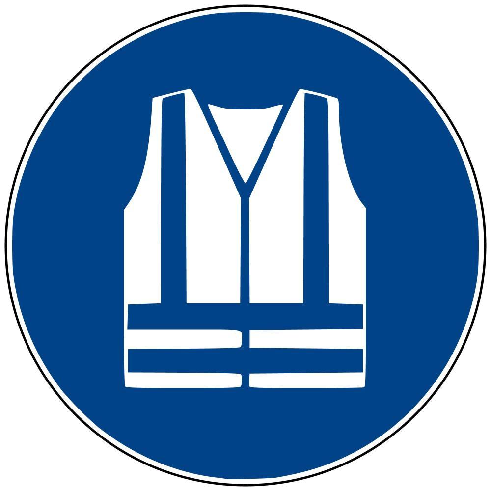 M15 - Warnweste benutzen - selbstklebend blau - 75 mm Durchmesser