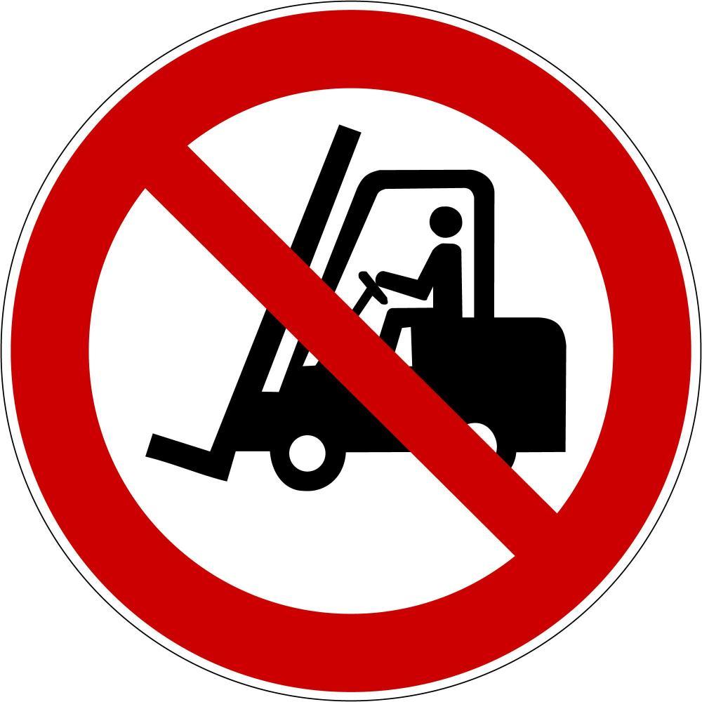 P006 - Für Flurförderfahrzeuge verboten - selbstklebend
