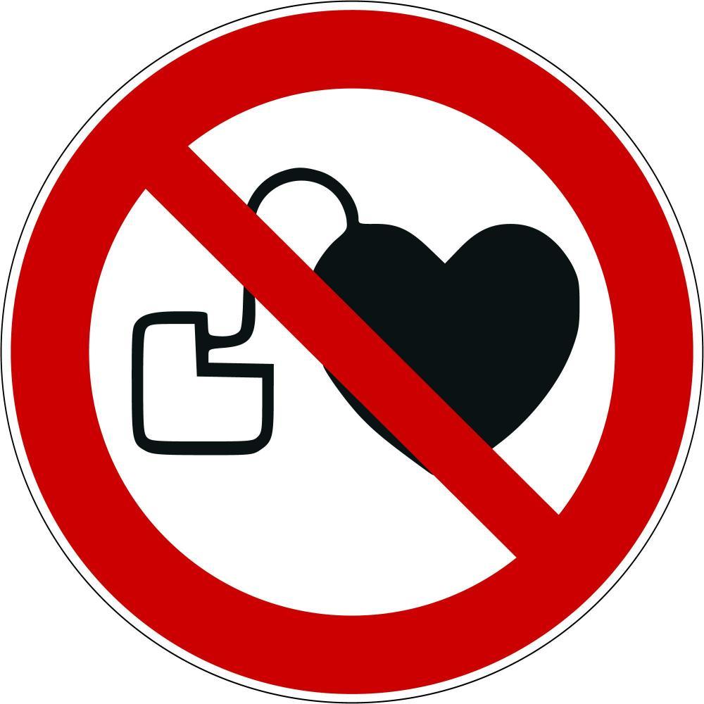 P007 - Kein Zutritt für Personen mit Herzschrittmachern oder implantierten Defibrillatoren - selbstklebend