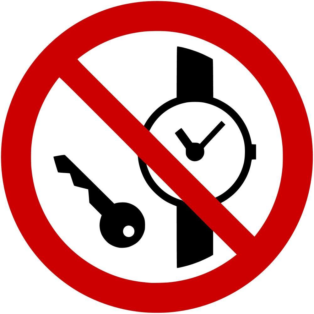P008 - Mitführen von Metallteilen und Uhren verboten - selbstklebend