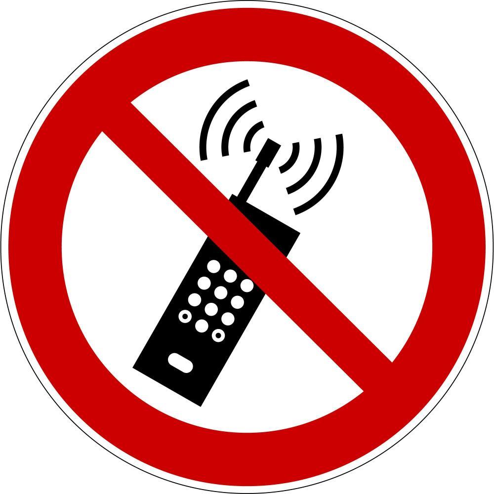 P013 - Eingeschaltete Mobiltelefone verboten - selbstklebend