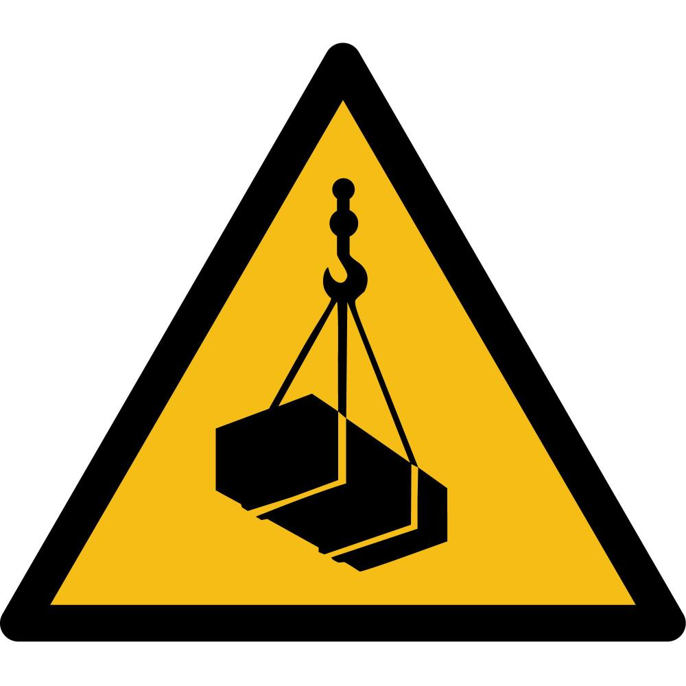 W015 - Warnung vor schwebender Last - selbstklebend gelb-schwarz - 150 mm Seitenlänge