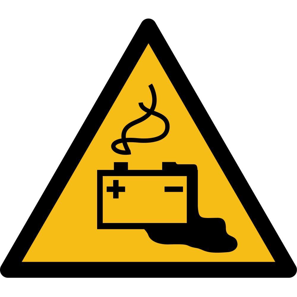 W026 - Warnung vor Gefahren durch das Aufladen von Batterien - selbstklebend