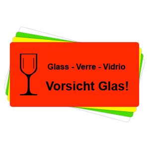 Versandaufkleber - Vorsicht Glas - V020