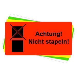Versandaufkleber - Achtung - nicht stapeln - V026
