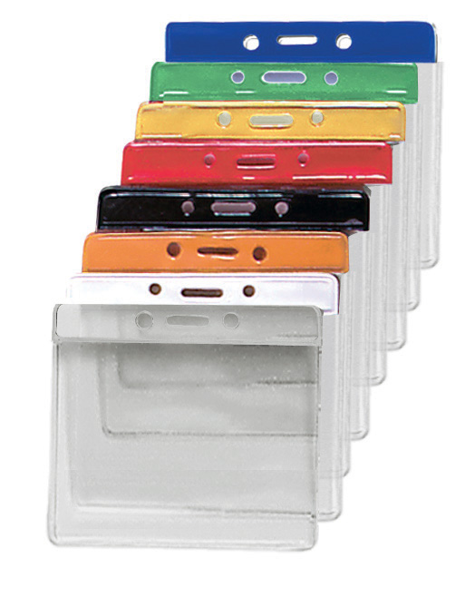 Kartenhalter Vinyl horizontal mit Farbbalken