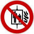 P020 - Aufzug im Brandfall nicht benutzen - selbstklebend