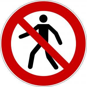 P004 - Für Fußgänger verboten - selbstklebend  preis-günstig kaufen