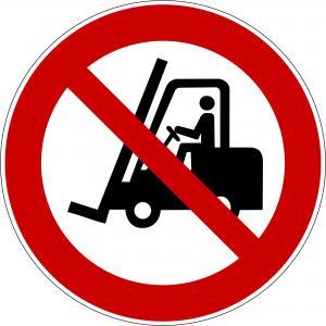 P006 - Für Flurförderfahrzeuge verboten - selbstklebend  preis-günstig kaufen