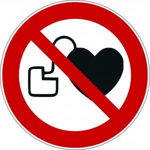 P007 - Kein Zutritt für Personen mit Herzschrittmachern oder implantierten Defibrillatoren - selbstklebend  preis-günstig kaufen