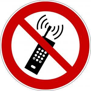 P013 - Eingeschaltete Mobiltelefone verboten - selbstklebend  preis-günstig kaufen