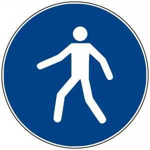 M24 - Fußgängerüberweg benutzen - selbstklebend blau - 50 mm Durchmesser preis-günstig kaufen